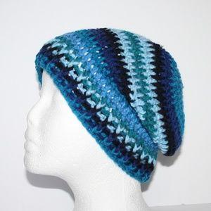 Blue and black NWOT crochet winter hat beanie